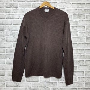 J. Crew Ribbed Knit Brown V-Neck  Cozy Sweater Men's Size Large Tall Fall Winter